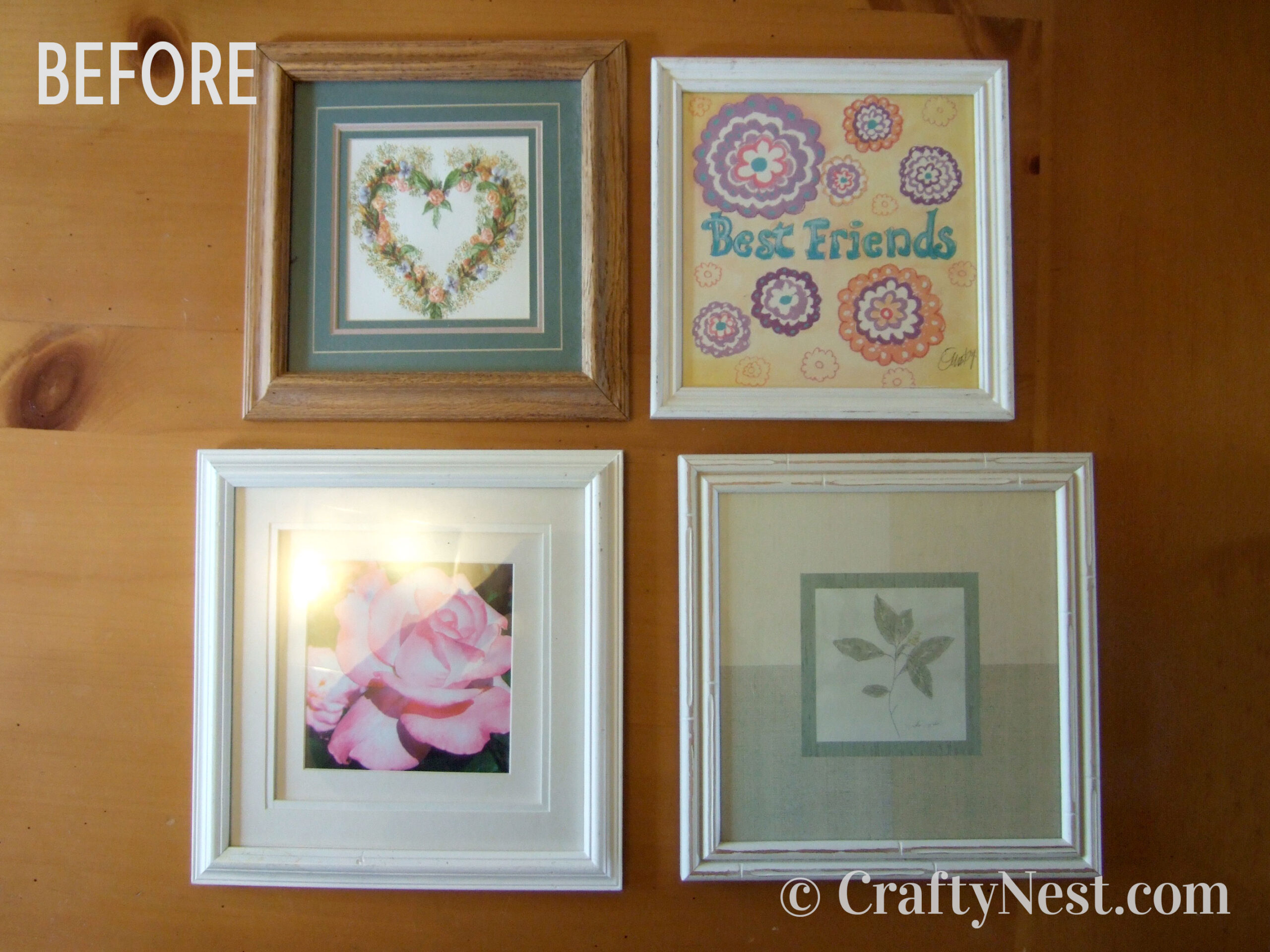 Mismatched thrift-store picture frames, photo