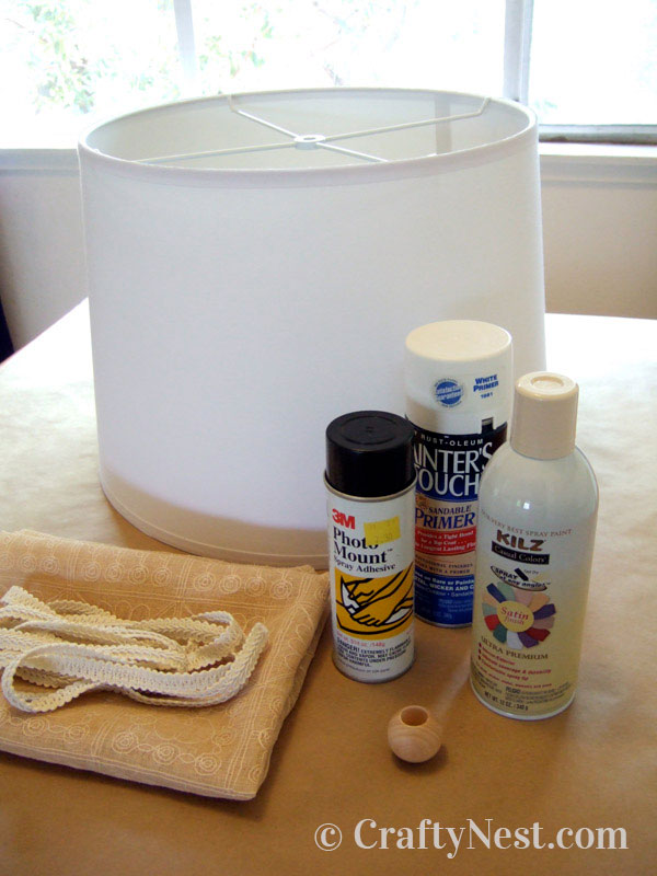 Lampshade and supplies for the project, photo