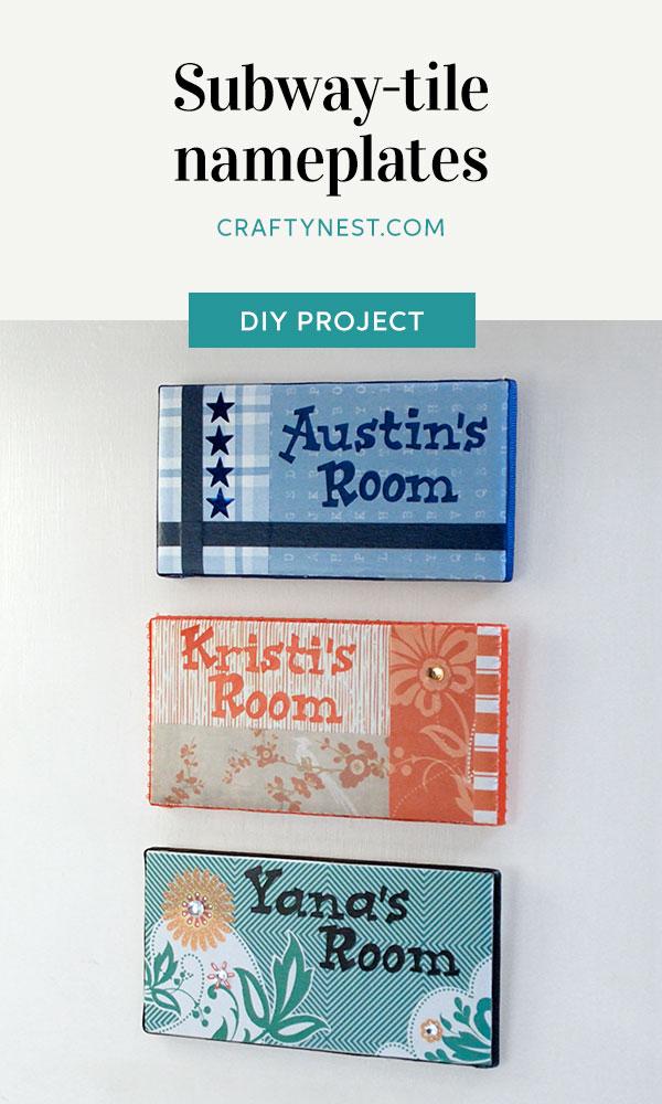 Crafty Nest camp craft subway tile name plates Pinterest image