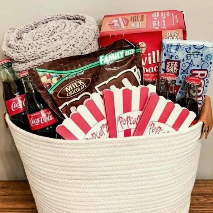 DIY family movie night gift basket, photo