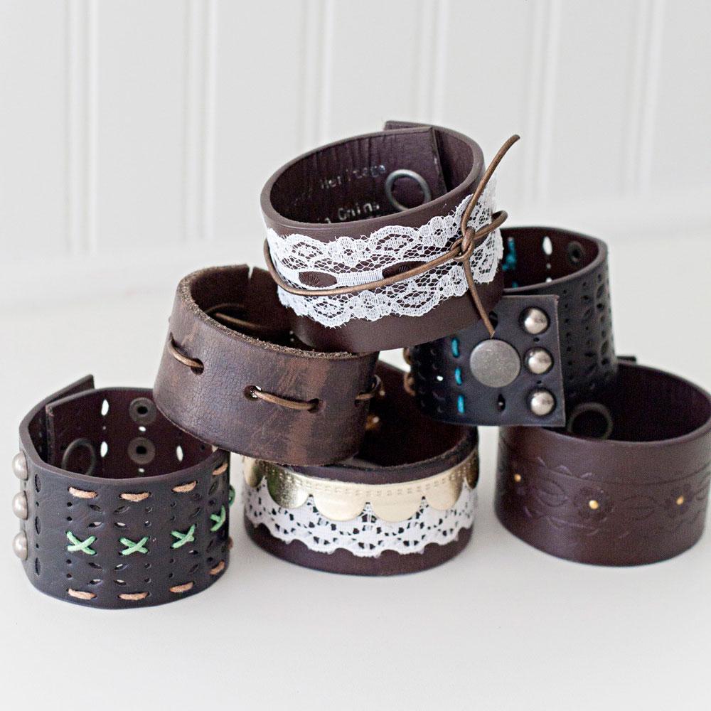 DIY leather cuffs, photo