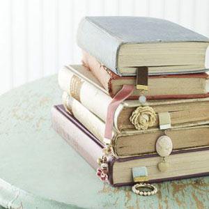 Ribbon bookmarks in books, photo