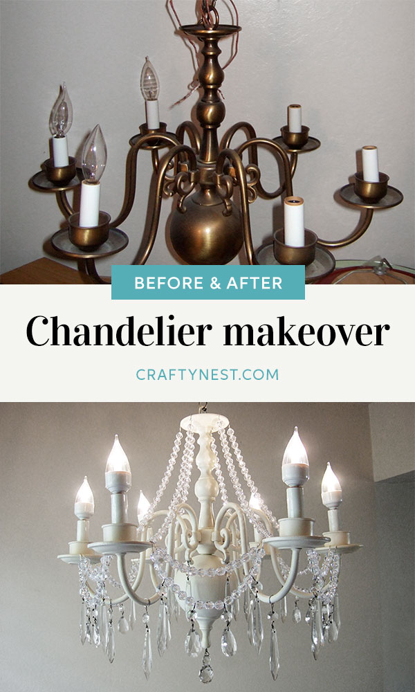 Crafty Nest dining room makeover the chandelier Pinterest image