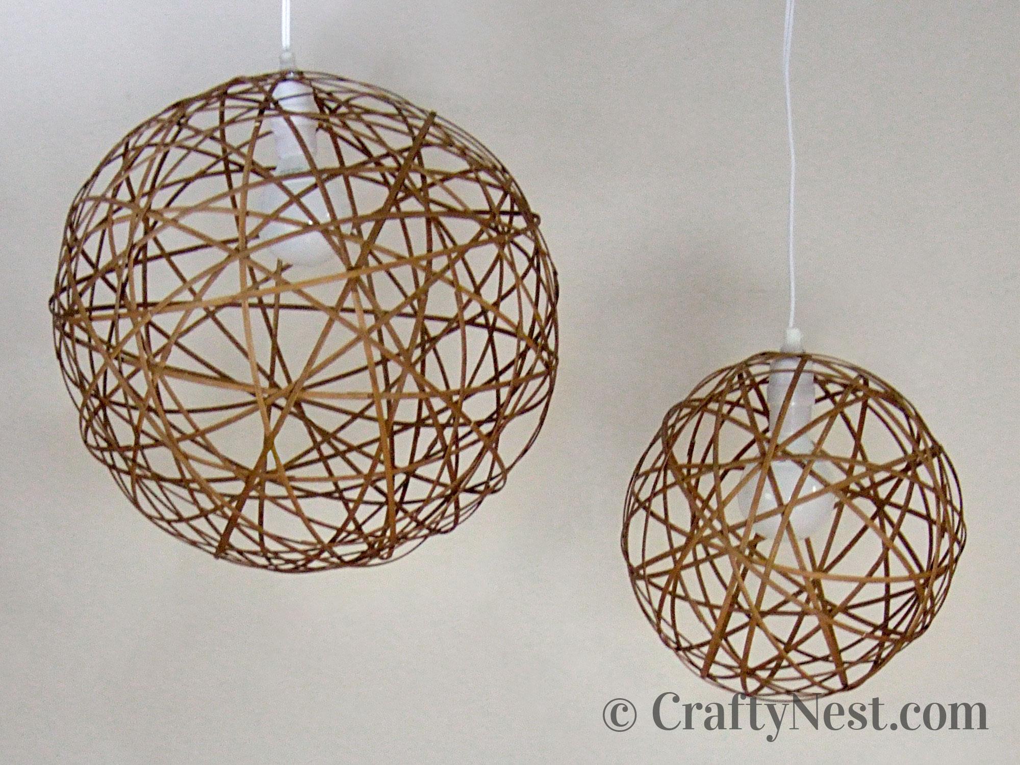 DIY bamboo orb pendant lights off, photo