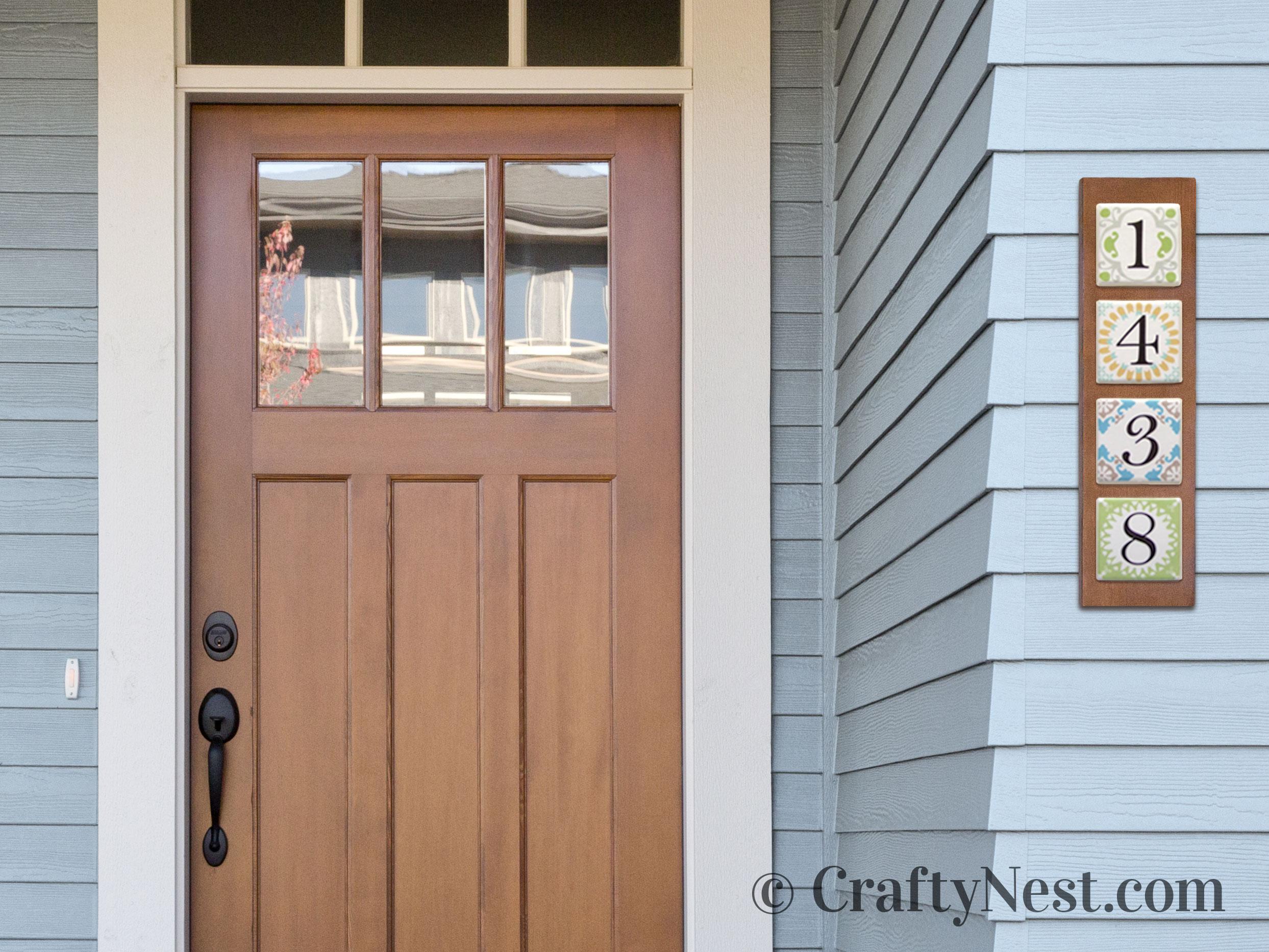 Homemade house numbers on a house, photo