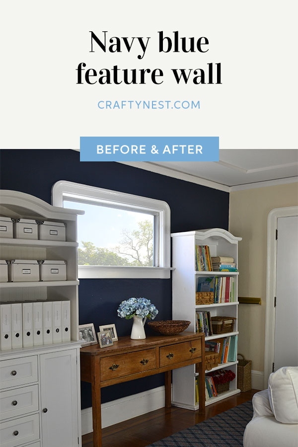 Crafty Nest navy blue feature wall Pinterest image