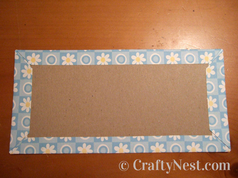Decorative paper wrapped around the chipboard, photo