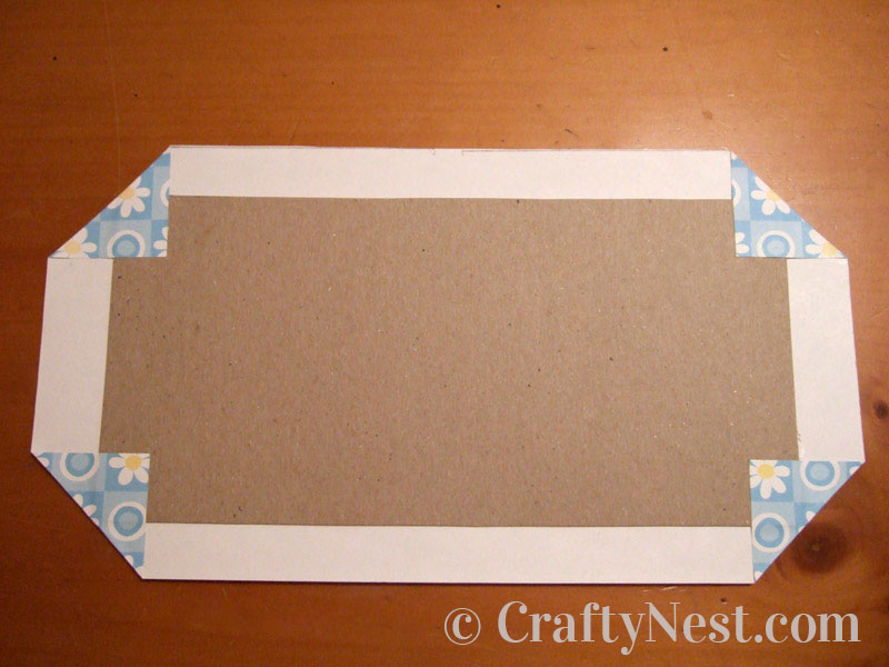 Decative paper folded at the corners of the chipboard, photo