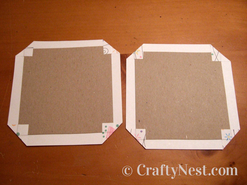 Decorative paper folded over chipboard, photo