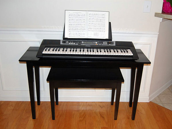 Kristen and Brant piano keyboard table, photo