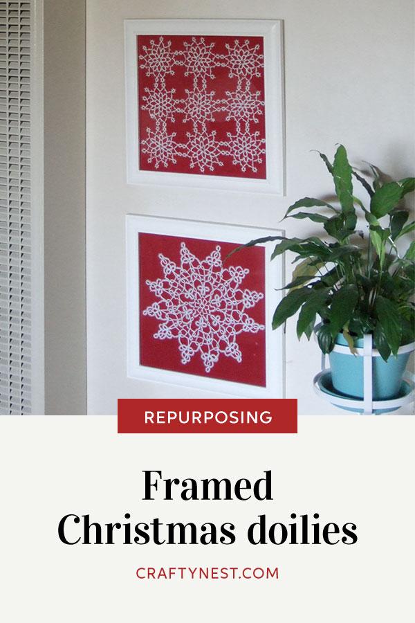 Crafty Nest framed Christmas doilies Pinterest photo