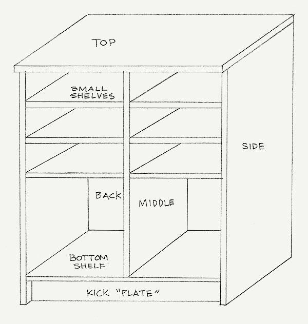 Sketch of the basket shelf unit