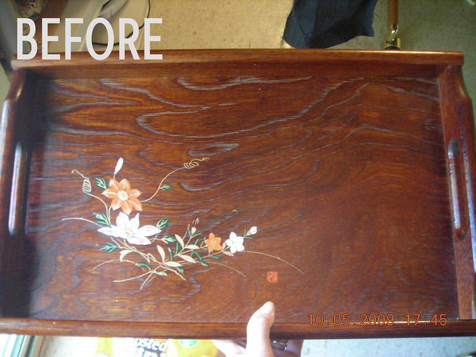 Stephanie's tray before she painted it, photo
