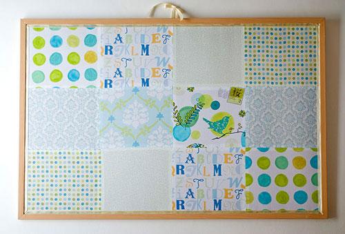 Clara's fabric-covered bulletin board, photo