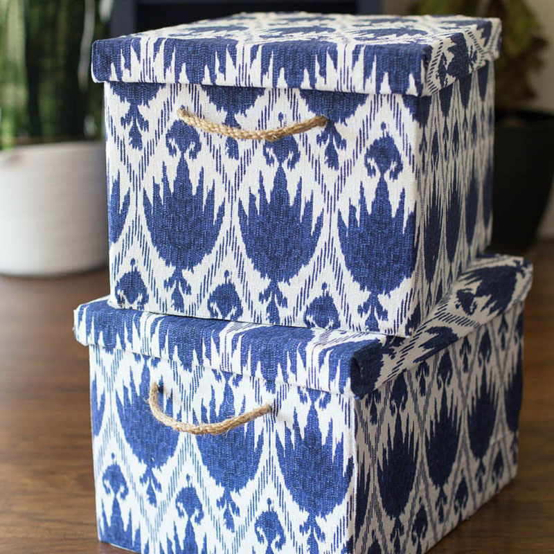 Chelsea's fabric covered storage boxes, photo