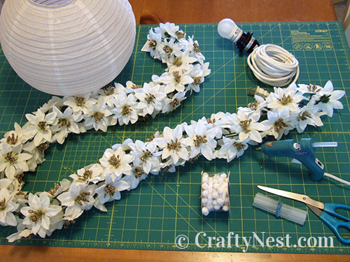 Supplies to make the paper lanterns, photo