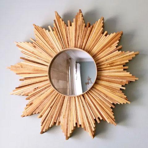 Rustic sunburst mirror, photo
