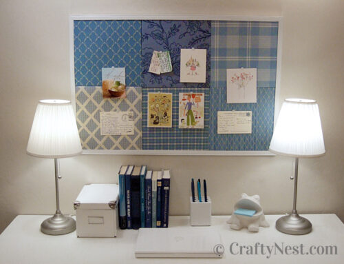 DIY salvaged patchwork bulletin board