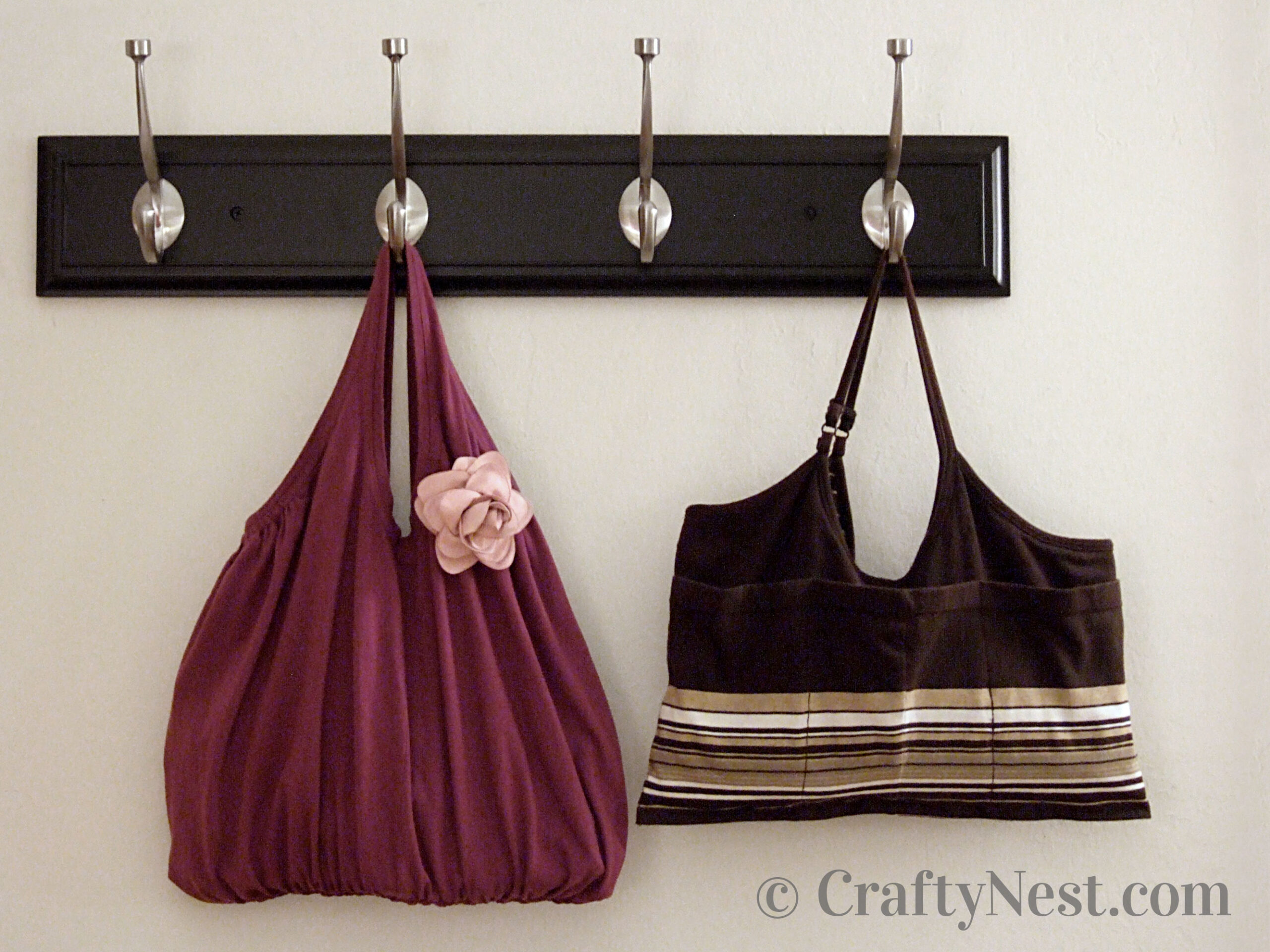 Two handmade totes made from tank tops, photo