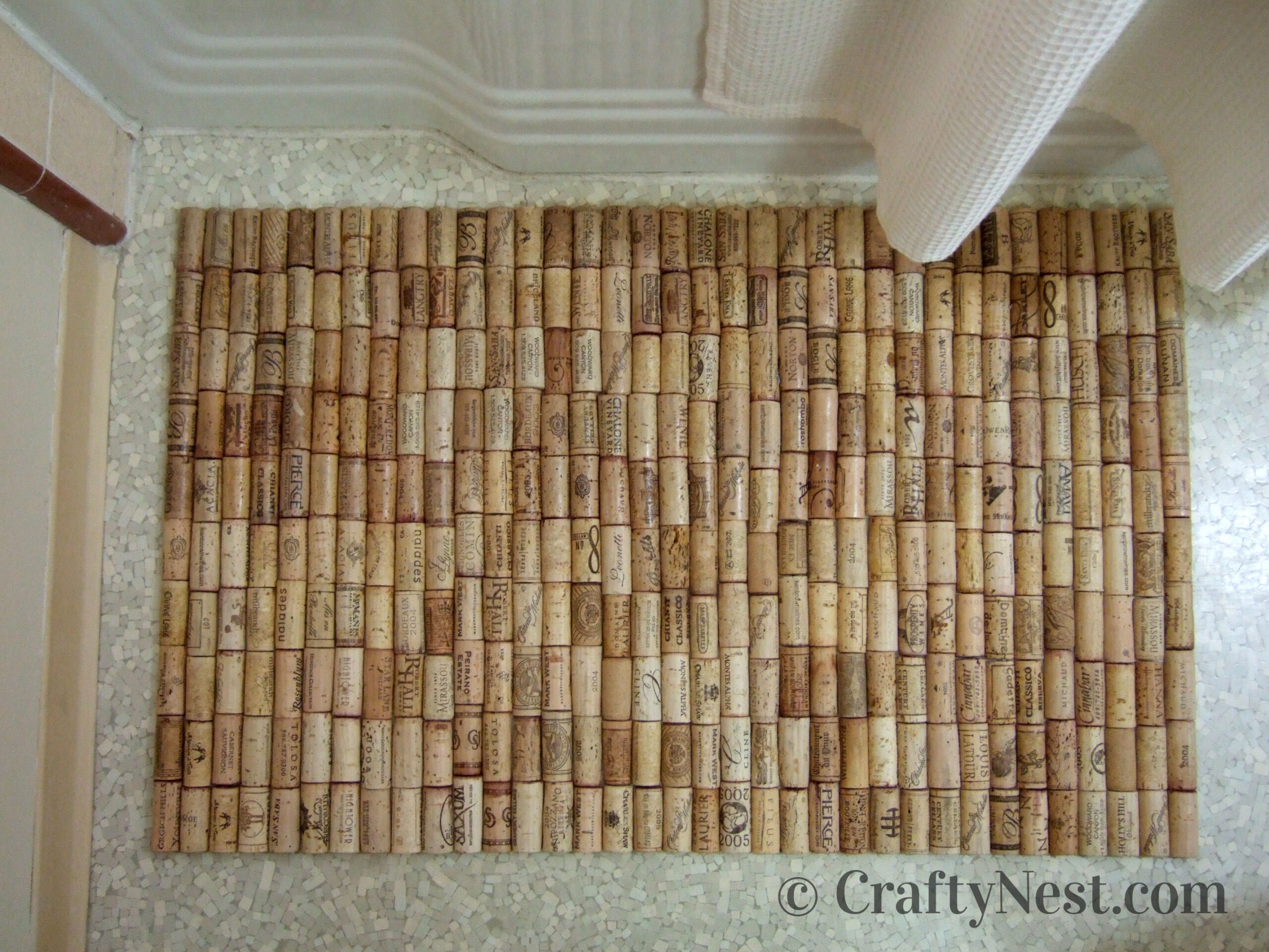 Wine cork bath mat after being sealed, photo