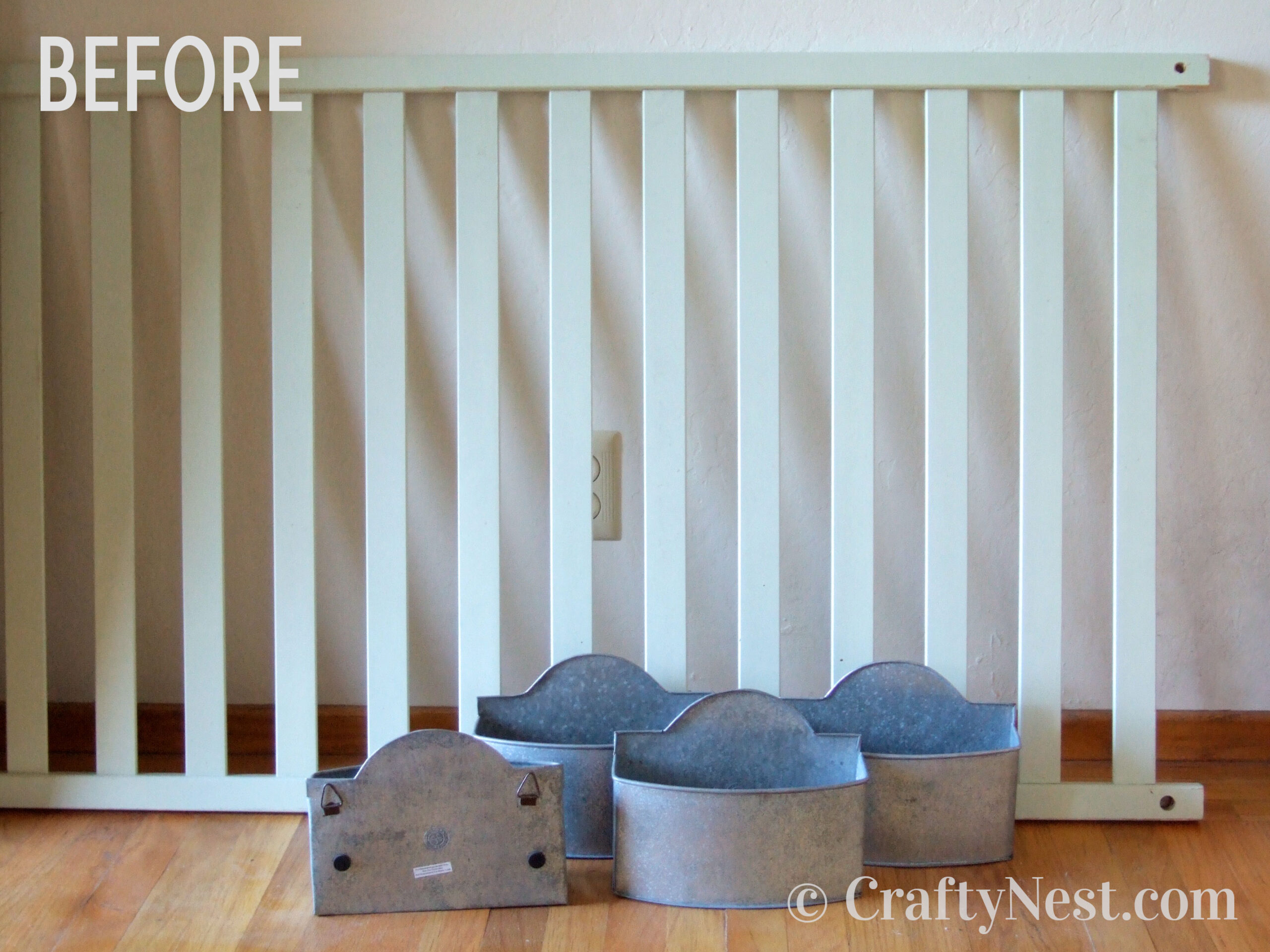 Crib railing that was used as tool organizer, before photo
