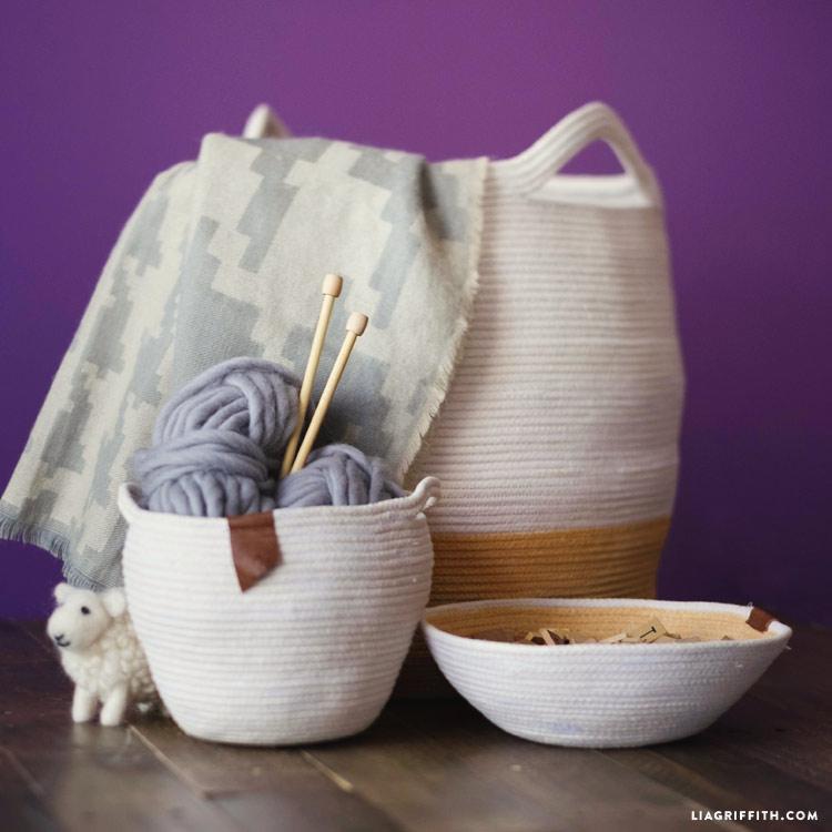 Cotton clothesline baskets and bowls, photo