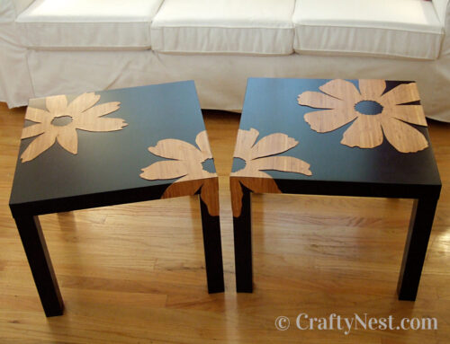 Bamboo veneer flowers + Ikea Lack tables