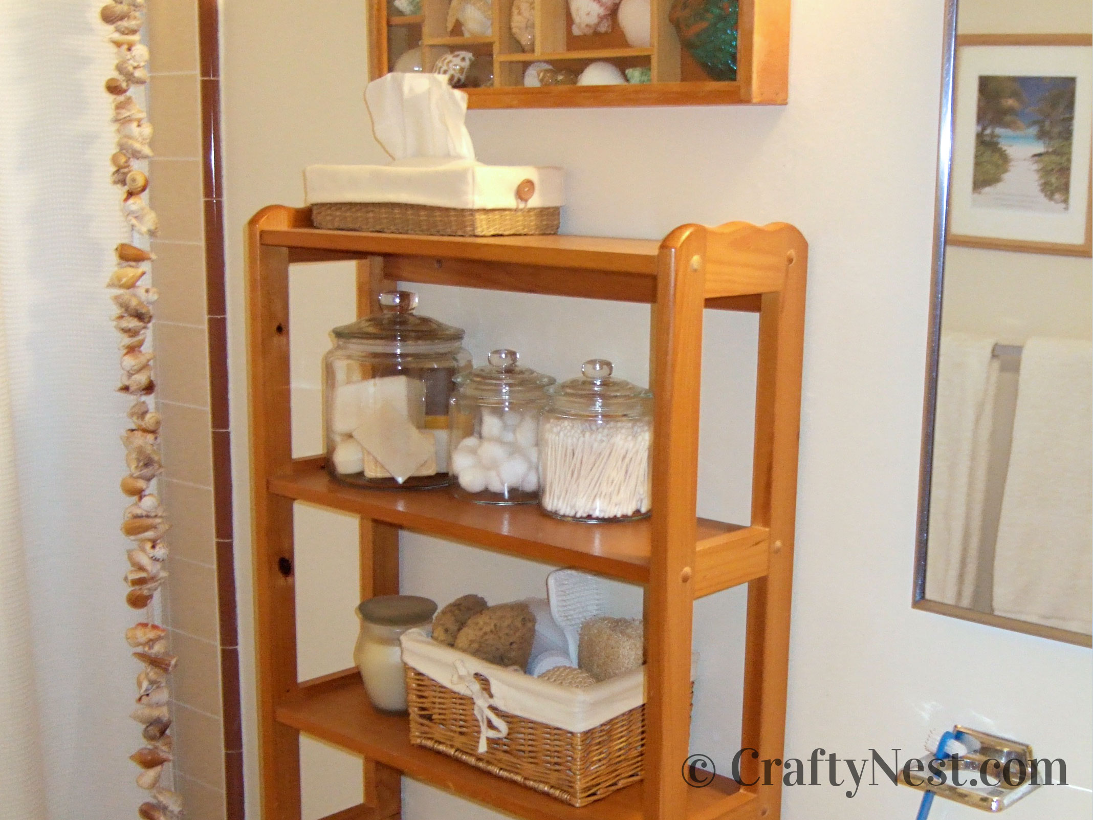 Bathroom with shelves, jars, and seashells, photo