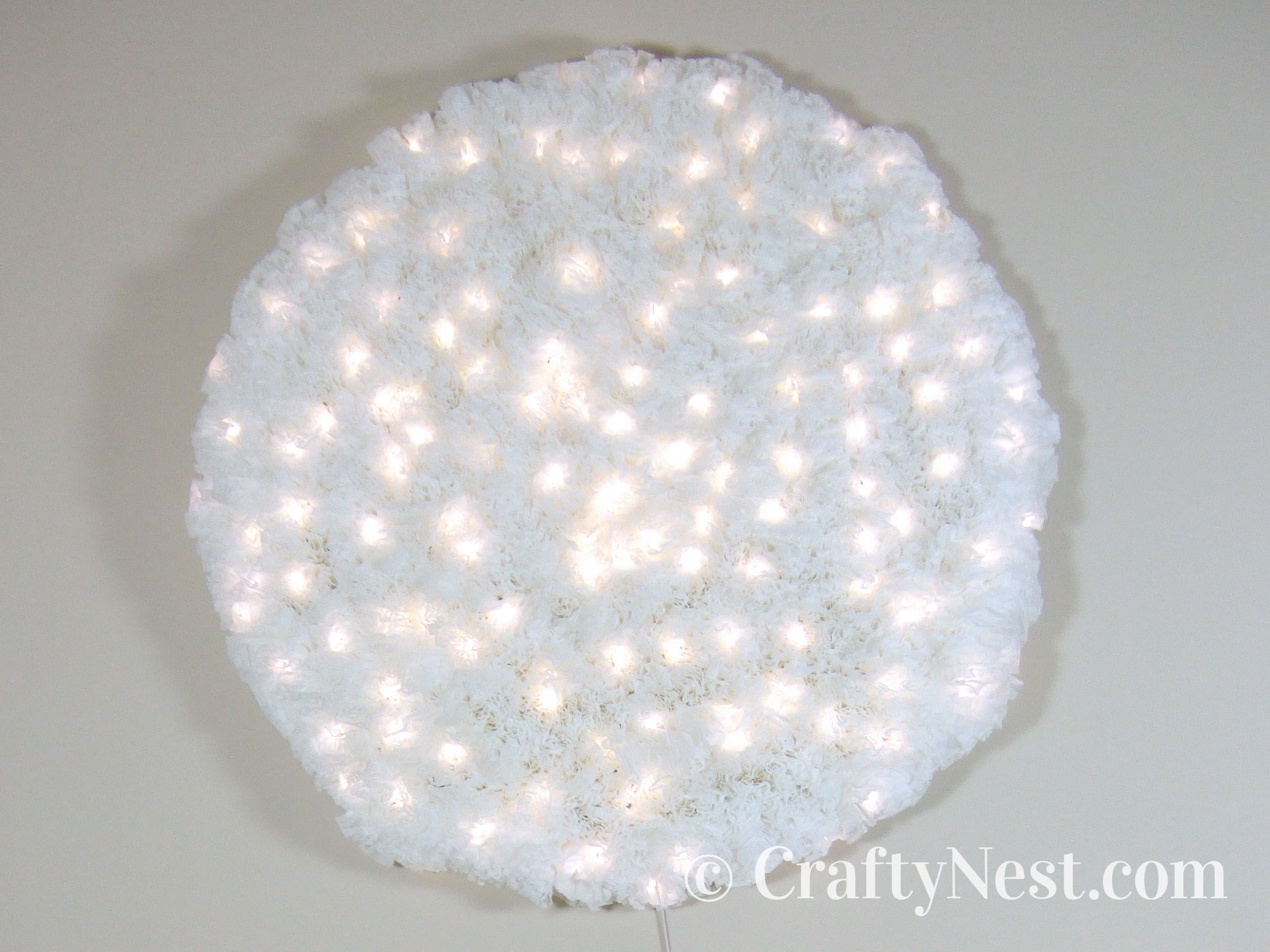 Coffee-filter snowball light, photo