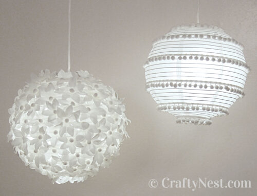 Two paper lanterns: flowers & pom poms