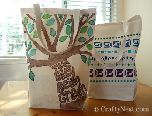 Decorated canvas tote bags