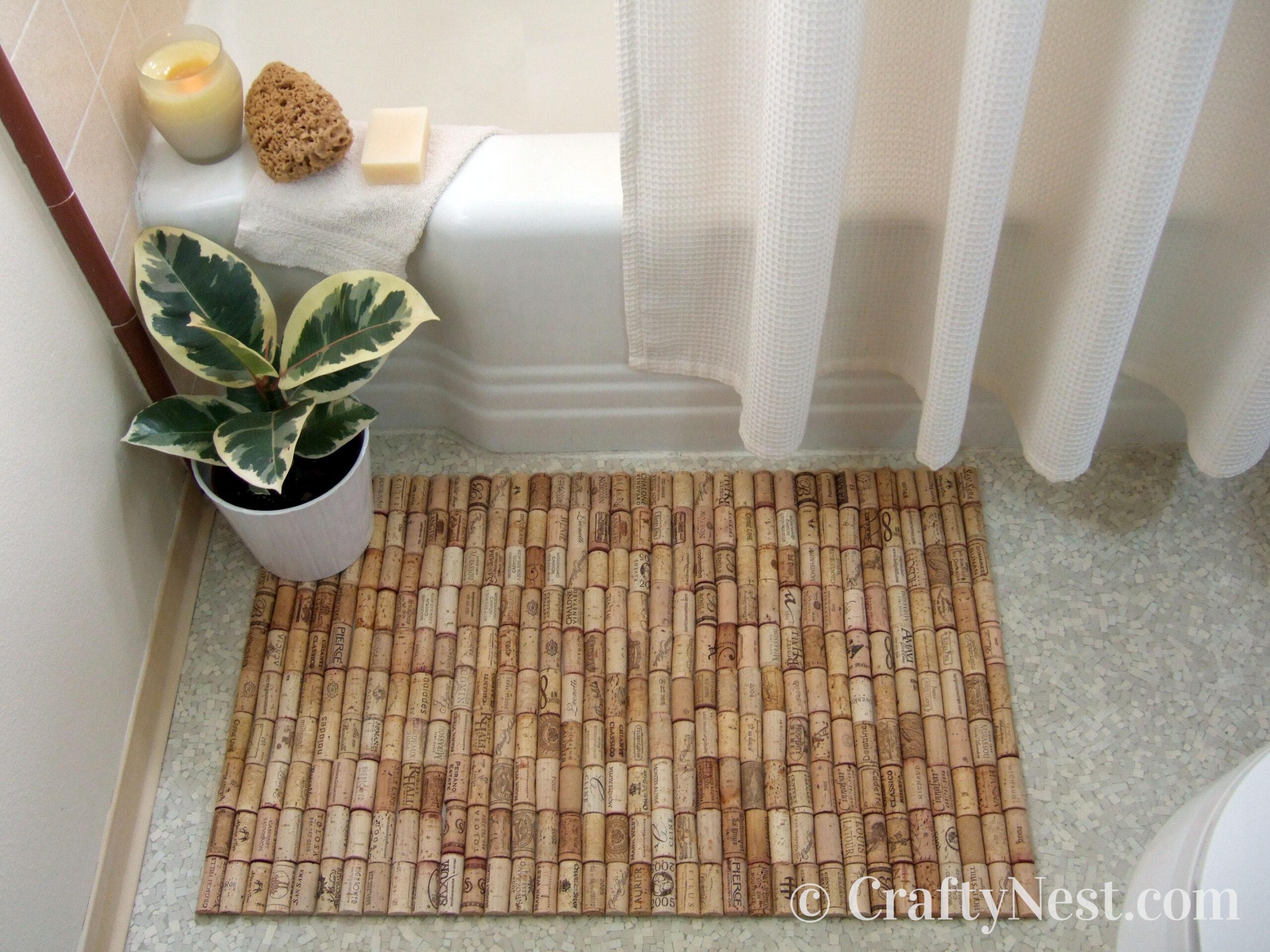 Bath mat made of wine corks, photo