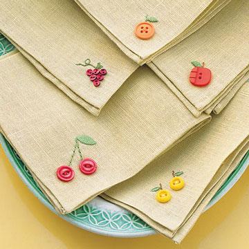 Martha Stewart's fruity button embroidery napkins, photo