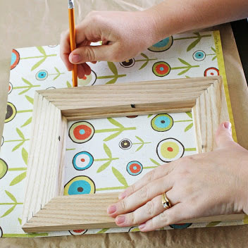 Decoupaging a picture frame, photo