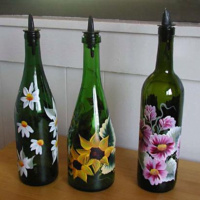 Painted wine bottles, photo