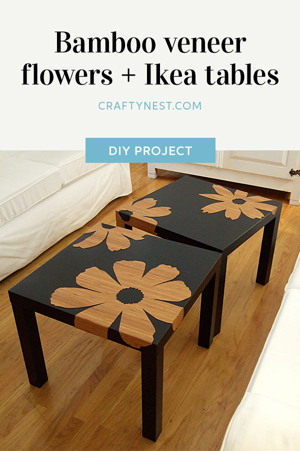 Crafty Nest bamboo veneer Ikea Lack tables Pinterest image