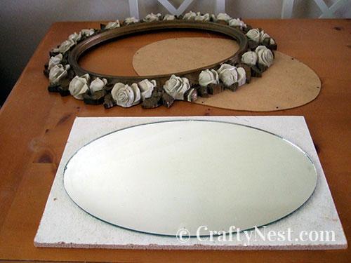 Trace the mirror onto homasote board, photo