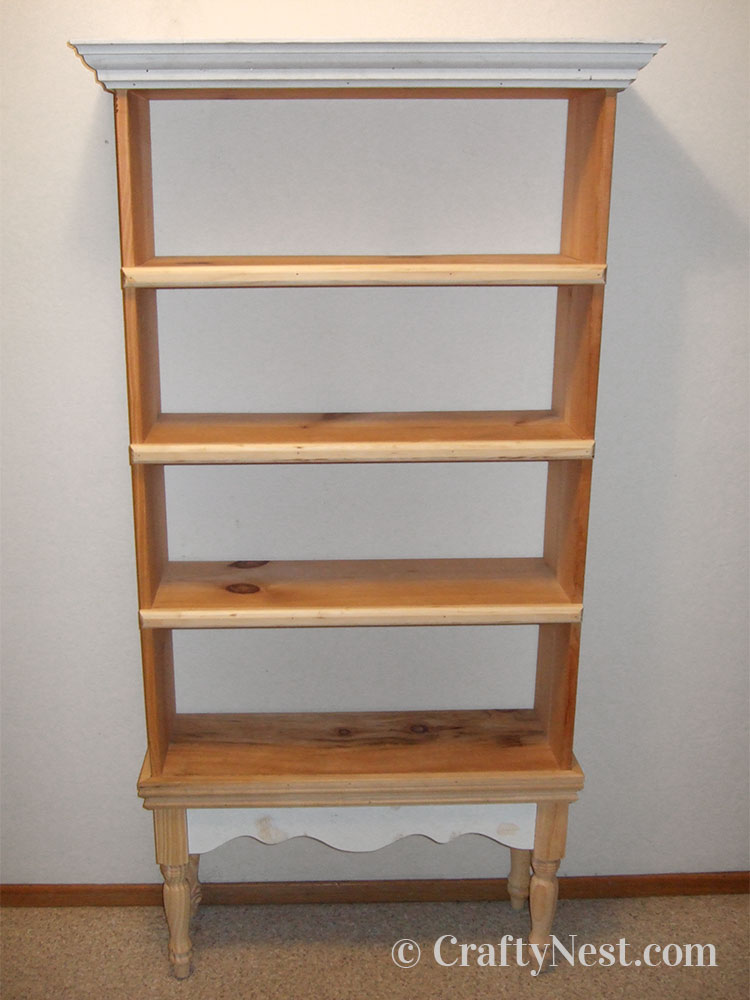 Moldings attached to bookshelf, photo