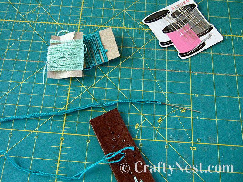 Stitching with embroidery floss, photo