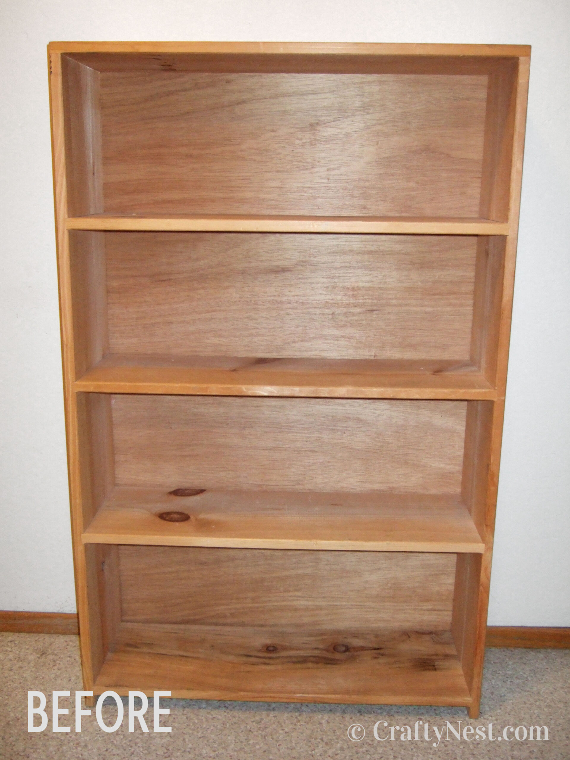 Plain bookshelf before the makeover, photo