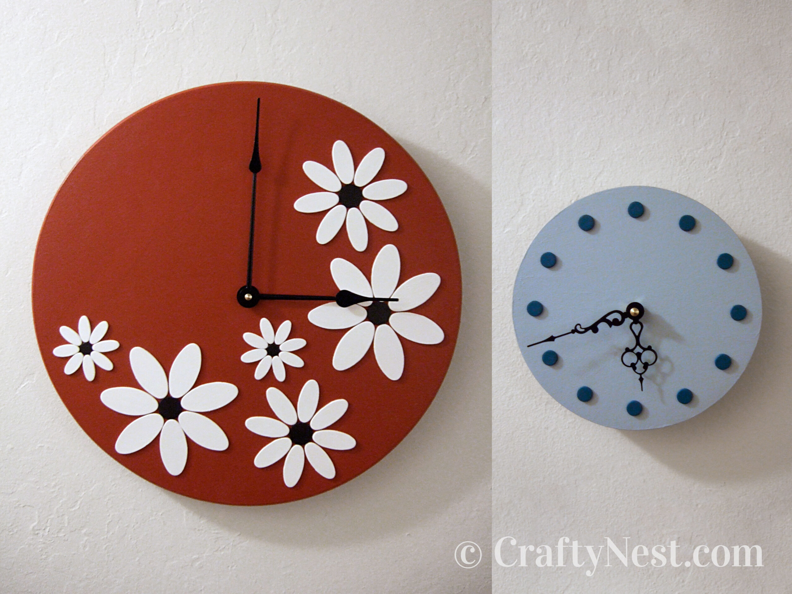 Red and blue clocks, photo