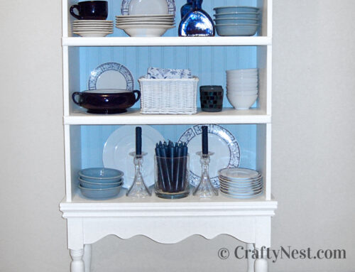 Plain bookshelf = fancy china cabinet