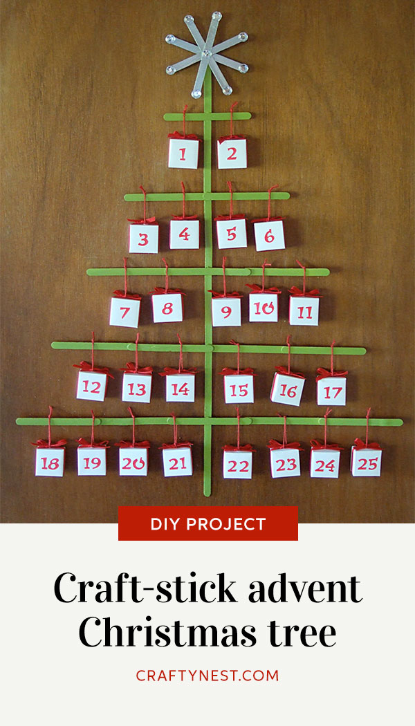Crafty Nest craft-stick Christmas tree advent calendar Pinterest image
