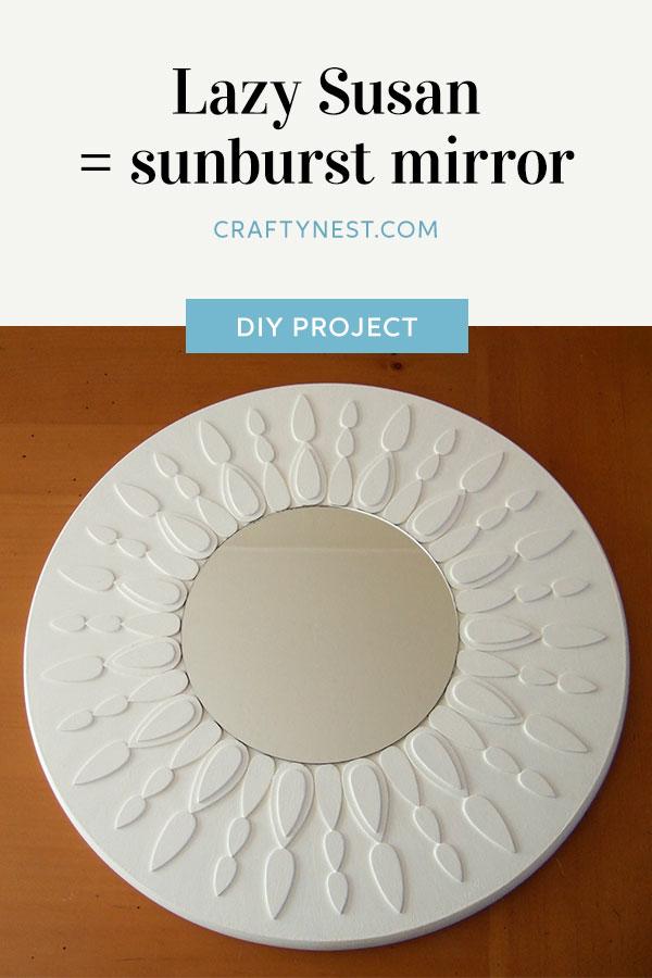 Crafty Nest lazy susan sunburst mirror Pinterest image