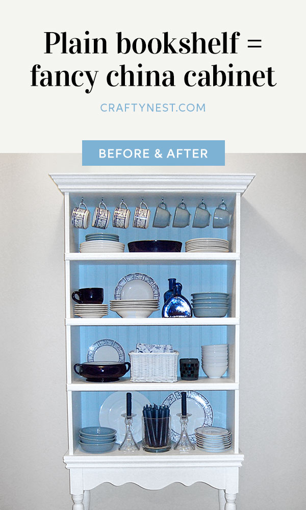 Crafty Nest broing bookshelf fancy china cabinet Pinterest image