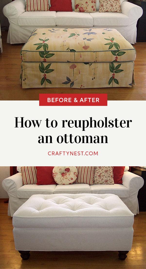 Crafty Nest reupholster an ottoman Pinterest image