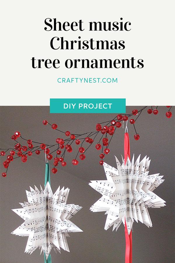 Crafty Nest sheet music Christmas tree ornaments Pinterest image
