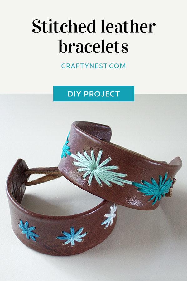 Crafty Nest stitched leather bracelets Pinterest image