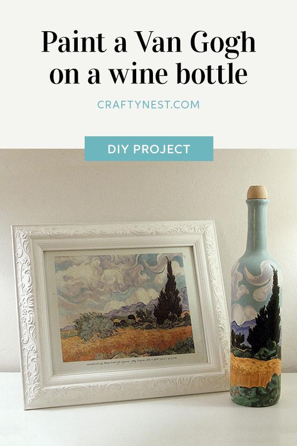 Crafty Nest Van Gogh on a wine bottle Pinterest photo