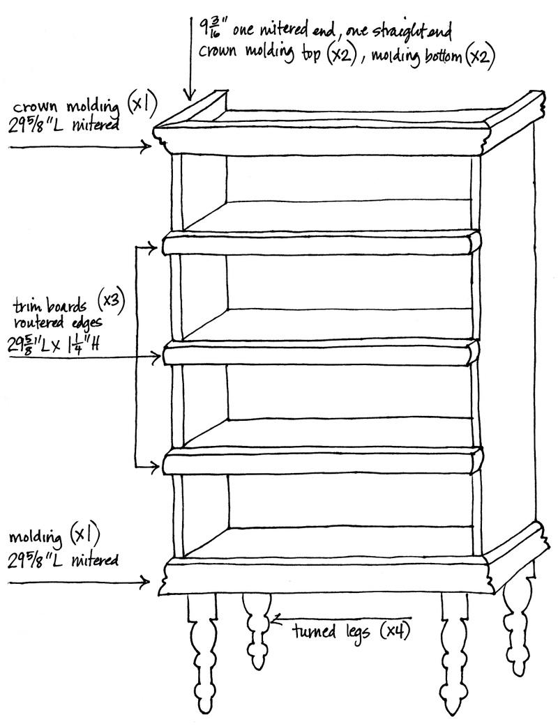 Sketch of the bookshelf makeover plans, photo